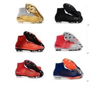 Wholesale Indoor Winter Boots - 2018 original kids soccer cleats Mercurial Superfly V SX Neymar Turf AG FG soccer shoes indoor boys football boots cr7 ronaldo cleats mens