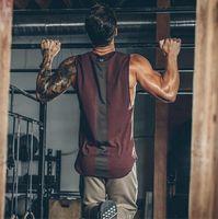 vêtements de réservoirs achat en gros de-2019 été nouvelle marque mens ourlet incurvé patchwork gymnases stringers gilet haute Quailty Bodybuilding vêtements Fitness homme Tanks Tops