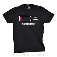 Wholesale funny t shirts for sale resale online - Tshirts Mens Need Beer Tshirt Funny Drinking Cell Phone Battery Tee For Guys T Shirt Hot Sale Clothes