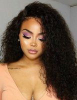 Wholesale best curly human hair wigs resale online - Best Quality Density Virgin Unprocessed Human Hair mongolian kinky curly Curly Lace Front Wig pre plucked free ship