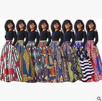 Wholesale Umbrella Sleeves - Explosions women printing dress sexy long skirt bare shoulders Umbrella skirt Thickened long sleeve version 8 color optional spring