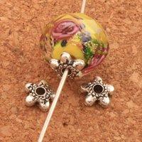 conclusions perle achat en gros de-1000pcs / lot Étoiles Dots Caps 6.2x6.2mm Antique Silver Bead Cap Résultats de bijoux Composants L1020
