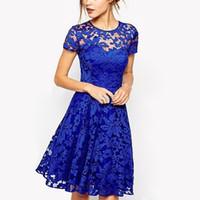 Wholesale plus size women dresses online - 5XL Plus Size Dress Fashion Women Elegant Sweet Hallow Out Lace Dress Sexy Party Princess Slim Summer Dresses Vestidos Red Blue D1891303