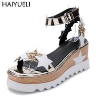 sandalias de plataforma para mujer al por mayor-Sandale Femme Ete 2018 Sandalias de plataforma para mujer Zapatos de tacón de correa de tobillo casual Sandalias de mujer Zapatos de cuña de verano de la vendimia