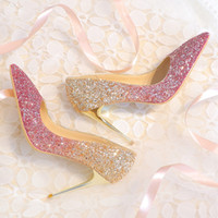 Wholesale Bingling Ombre Sequined Wedding Shoes For Bride Stiletto Heel Prom Banquet High Heels Plus Size Pointed Toe Colors Bridal Shoes