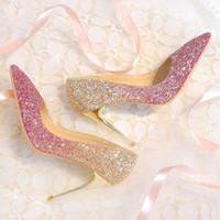 tamaño de la sandalia nupcial al por mayor-Bingling Ombre zapatos de boda con lentejuelas para la novia del estilete del talón Prom banquete tacones altos más el tamaño del dedo del pie señalado 3 colores zapatos de novia