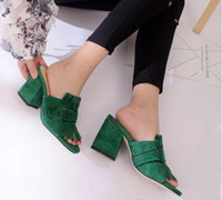 Wholesale square flip flops - 2018 SS new leather retro square head sandas metal buckle single shoes tassel women's shoes shallow mouth high-heeled shoes
