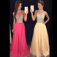 Wholesale custom drills - Free Shipping Dew Luxury Slim Set To Drill Prom Dresses Chiffon Round Neck Back Long Hollow Party Long Evening Dresses HY1542