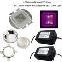Wholesale Grow Light Led Diy - 2016 DIY 200W Led Grow Light 8 Band Full Spectrum LED Grow,LED Driver,Lens And Reflector DIY Full Spectrum COB Grow Lamp