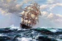 abstrakte gemälde für sonnenaufgang großhandel-Schiff auf dem Meer, hochwertige handgemalte / HD Druck Seascape Kunst Ölgemälde auf Leinwand Home Decor, Mulit Größen Freies Verschiffen