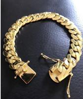 Wholesale Mens Solid Gold Bracelets - Mens Cuban Miami Link Bracelet 14k Gold Filled Over Solid 10mm Wide