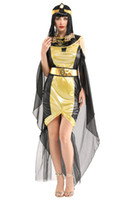 Wholesale halloween costume egyptians resale online - Shanghai Story Woman Egyptian Pharaoh Queen Cosplays Female Halloween Goddess Costumes Carnival Purim Masquerade Dress