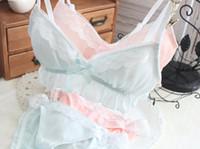 sutiã de algodão branco vermelho venda por atacado-2018 Nova Chegada 100% Real Fotos Lolita Sexy Bonito Kawaii Chiffon Acolchoado Sem Costura Sem Costura Macia Bustier Sutiã Calcinha Conjunto