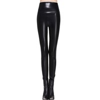 Wholesale leggins leather size l - Women Leggings Faux Leather High Quality Slim Leggings Plus Size High Elasticity Sexy Pants Leggins S -Xl Leather Boots Leggings