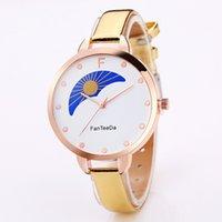 Wholesale Moon Watch Design - Fashion women ladies Creative sun moon design thin leather watches wholesale 2018 ladies casual dress quartz wrist watches