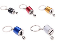 Wholesale Golden Keychain - Classic Attachable Keychain Auto Part Model Gear Shifting Keychain Black Red Silver Blue Golden Bag Pendant 5 Colors Optional Free DHL G683R