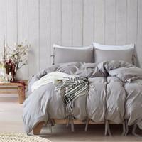 Wholesale lace quilt cover - European-Style Gray Solid Color Lace Quilt Cover Duvet Cover Set Single Double King Size 2pcs 3pcs Bedding Sets Bed Linen Soft
