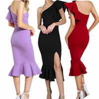 Wholesale sleeveless strapless clothing - Designer women clothes Sexy lotus leaf summer dresses womens party Off Shoulder Strapless Ruffle Split Party Club dress birthday gift