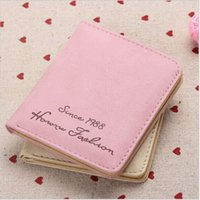 Atacado- 2017 Spring Fashion Women Wallet Mini Retro Vintage Matte PU Couro Short Wallet Card Holder Handbag com Carta Carteira