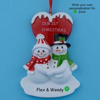 Wholesale personalized ornaments - Our First Christmas Couple Snowman Resin Glossy Hang Personalized Christmas Ornaments For Lover Gifts Home Decor