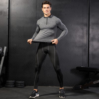 Wholesale leggings zip - Men Running Tracksuits Sportswear Zip Stand Neck Long Sleeve T-shirt Leggings Stretch Quick Dry Tight Fitness Sport Clothing Set