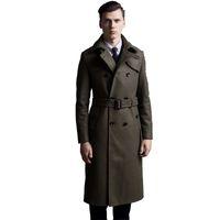 ingrosso cappotti di lana britannica-Cappotto di lana extra lungo maschile cappotto di lana a doppio petto britannico uomo slim fit classico verde militare caldo pea coat