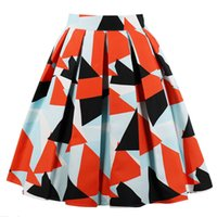 Wholesale swing patterns for sale - Group buy Geometric Patterns Summer Skirts Womens High Waist Pleated Skirt Vintage A Line Casual Big Swing Women Midi Skirt Hot Sale