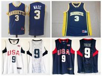 Wholesale usa university - Men's Marquette College #3 Dwyane Wade Jersey Navy Blue University Dwyane Wade 2008 USA Dream Team Stitched Basketball Jerseys Shirts