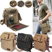 Wholesale Vintage Messenger Bags Men Canvas - Men's Military Vintage Canvas Leather Satchel Shoulder Bag Messenger School Bag
