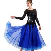бальных танцев платья для взрослых оптовых-Standard Ballroom Dance Dress Women 2018 New Waltz Dancing Skirt Adult Cheap blue Ballroom Competition Dance Dresses
