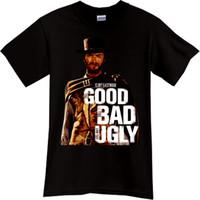 gute kostenlose filme großhandel-2018 Qualitäts-Marken-Männer Clint Eastwood das gute das schlechte der hässliche Western-Cowboy-Film-Schwarz-T-Shirt freies Verschiffen preiswertes T-Stück