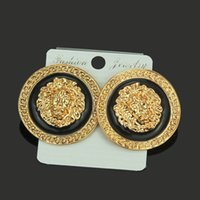 Wholesale gold lion earrings resale online - Hip Hop Study earring Europe and the United States exaggerated fashion high quality alloy lion head women s earrings nightclub