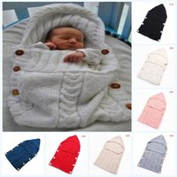 Wholesale crib quilt baby resale online - Newborn Infant Baby Soft Knit Crochet Wool Sleep Swaddle Play Wrap Quilt Crib Blanket Wrap Bedding Cute Baby Sleeping Bag