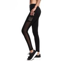 Wholesale high waist mesh leggings - Black Leggings Women High Waist Yoga Pants Elastic Fitness Workout Sport Tights Mesh Patchwork Gym Running Trousers with Pocket