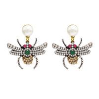 armut biçimli kristaller toptan satış-Idealway Yeni Moda Kişilik Kadınlar Armut Damızlık Kristal Rhinestone Bırak Küpe Böcek Şekilli Dangle Düğün Parti Takı
