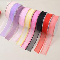 cinta de hilo al por mayor-Ancho 25 mm transparente malla de encaje malla neta cinta cinta de color sólido decoración para caja de pastel de boda diy bowknot