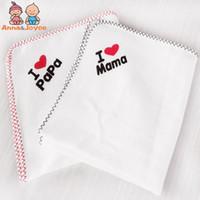 bebek havlu satışı toptan satış-Satış! 2 Adet / takım I Love Papa Mama Sevimli Pamuk Bids Bebek Kız Erkek Havlu Öğle Önlükler Yürüyor Bids Geğirmek Bezler
