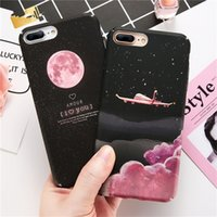 Wholesale aircraft fittings - Matte Case For Iphone X Aircraft Moon Starry Sky Hard PC Back Cover For Iphone 6 7 8 Plus