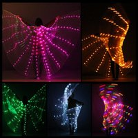 nueva mariposa ligera al por mayor-New Performance Prop Women Dance Accessories Girls DJ LED Wings Light Up Wing Costume LED Butterfly Wings luces del arco iris