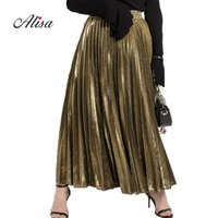 Wholesale Long Pleated Skirt Pattern - Summer Woman Beach Golden Long Skirt 2018 New Fashion High Waist Skirt Pattern Slim Female Solid Slim All-match Pleated Skirts