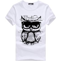 Wholesale owl t - Summer New Men T-shirt Owl Printed Casual Cotton T-shirt Slim Male Short sleeve T-shirt White Plus Size M-3XL