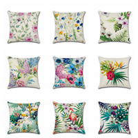 kuş bitkileri toptan satış-10 Stilleri Tropikal Çiçek Bitkiler Serisi Yastık Kılıfı Kapak Palmiye Kuşları Çiçek Baskılı Keten Minder Örtüsü 18