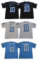 jerseys negros baratos del balompié al por mayor-Hombres Tar Heels # 10 Mitch Trubisky Negro azul blanco cosido North Carolina College jerseys de fútbol Barato