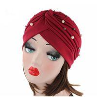 красивые шапки оптовых-(CC.AMILY) Spring Autumn Beautiful  Ladies Women Head Hats  Style Solid Color Cap High Quality Muslim Hats F0323