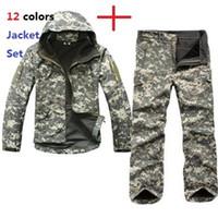 askeri yumuşak kabuk pantolon toptan satış-Taktik TAD Dişli Yumuşak Kabuk Kamuflaj Açık Ceket Set Erkekler Ordu Spor Su Geçirmez Avcılık Giyim ACU Askeri Ceket + Pantolon Y1893006