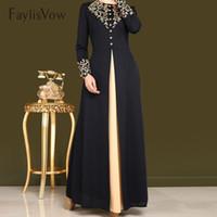 mujeres musulmanas negras al por mayor-Estampado en oro impresión vestido musulmán mujeres Dubai Abaya traje negro manga larga Cardigan Kaftan elegante diseño Maxi vestidos ropa
