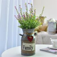 französische tische großhandel-Französisch Landhausstil Eisen Rost trocken Blumentopf Vintage Doppelgriff Eisen Glas für künstliche Blumen Home Tischdekoration
