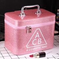 kore kutusu sevimli toptan satış-Bayan Kozmetik çantası küçük taşınabilir Kore basit sevimli kız kalp büyük kapasiteli saklama kutusu kozmetik durumda taşınabilir
