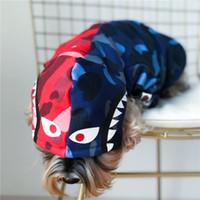 ingrosso pennello per vestiti-Felpe con cappuccio per animali domestici blu rosso Shark Logo per cuccioli con cane Logo Teddy Schnauzer Puppy Felpe con cappuccio stile inverno autunnale