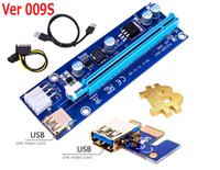 Wholesale Riser Pci E - Latest VER 008C 009S VBitcoin Ver008C With LED VER009S Gold Plated Miner Riser PCI-E Express 1X to 16X Graphics Card USB 3.0 Power Supply